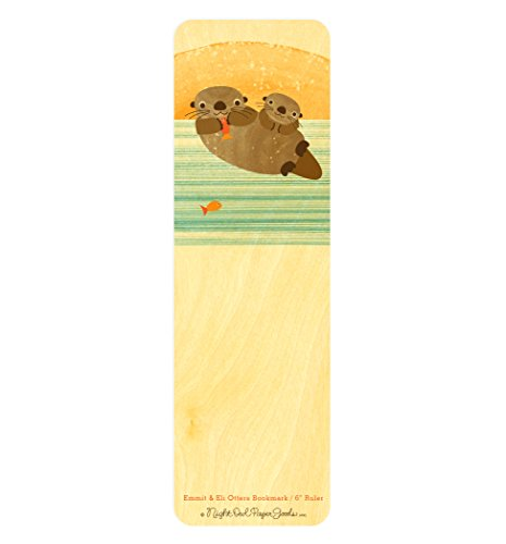 - Emmit & Eli Otters Wood Bookmark/Ruler by Night Owl Paper Goods