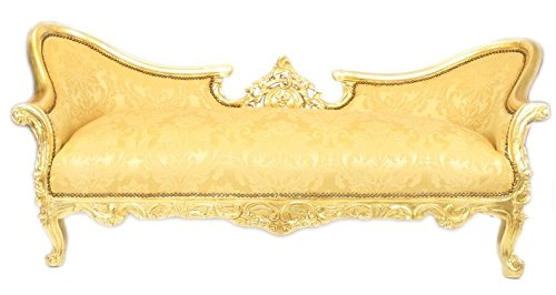 Casa Padrino Barock Sofa Garnitur Vampire Gold Blumen Muster / Gold - Antik Design Möbel Couch Wohnzimmer