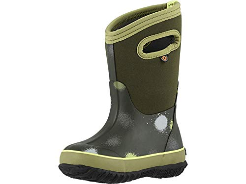 Bogs Kids' Classic B Funprint Insulated Rain Boots Green Multi 4 by Bogs