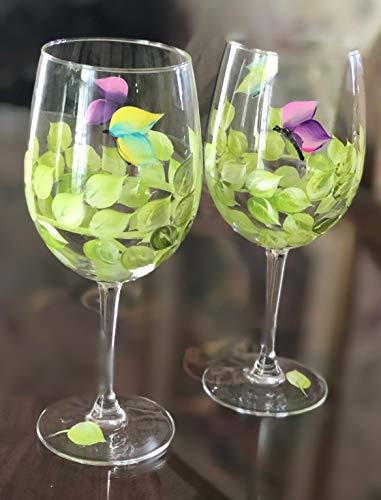 Hand Painted Wine Glasses with Butterflies Set of 2 Free Shipping