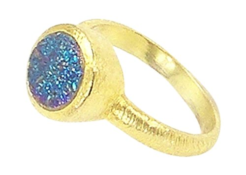 Betty Carre Single Stone Ring in Gold Plating & Round Blue Green Druzy - Size ()