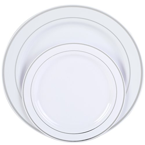 "Premium Disposable Plastic Plates 50 Pack (25 x 10.5"" Dinner + 25 x 7.5"" Salad/Desert) White with Silver Rim by Finest Cutlery for Weddings, Parties, and Special Occasions. -"
