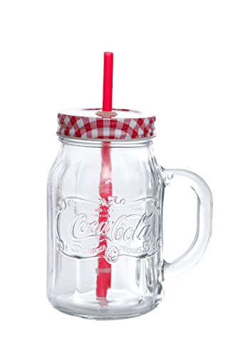 (Coca Cola 92548.04RM Country Classic 20 Ounce Handled Mason Jar with Lid & Straw(4 Pack), Clear)