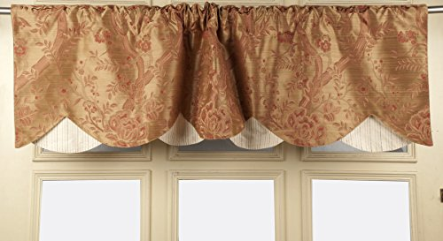 (TSC Faux silk floral double layered scalloped design windows,kitchen, Cafe valance as window treatment 50