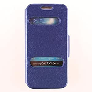GHK - Pure Color Window Up and Down PU Leather for Samsung Galaxy S4 Mini I9190 (Assorted Colors) , Light Blue