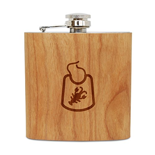 WOODEN ACCESSORIES COMPANY Cherry Wood Flask With Stainless Steel Body - Laser Engraved Flask With Lobster Bib Design - 6 Oz Wood Hip Flask Handmade In USA