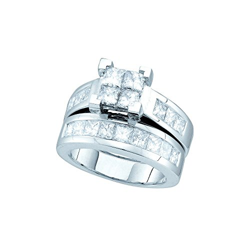 3 Ct Tw Invisible Set (Roy Rose Jewelry 3-Carat tw Princess Cut Diamond Invisible-set Center Princess Band Bridal Ring Set 14K White)