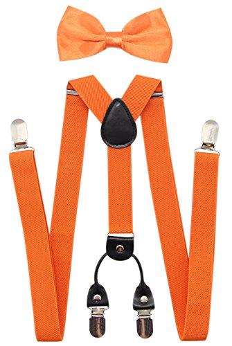 JAIFEI Men's 4 Clips Suspenders and Pre Tied Bow Tie Set for Tuxedo Wedding (Orange)