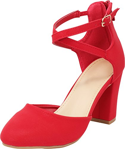 Cambridge Select Women's Closed Toe D'Orsay Crisscross Ankle Strap Back Zip Chunky Block High Heel Pump,10 B(M) US,Red IMSU