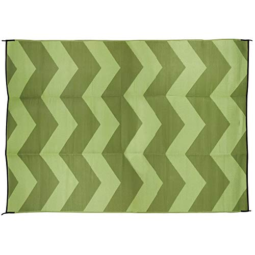 (Camco Large Reversible Outdoor Patio Mat - Mold and Mildew Resistant, Easy to Clean, Perfect for Picnics, Cookouts, Camping, and The Beach (6' x 9', Chevron Green Design) (42879))