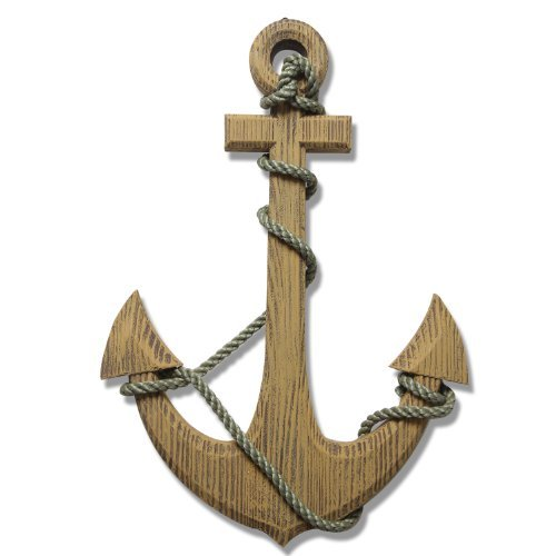 (Adeco Wooden Boat Anchor with Crossbar, Steering Wheel, Wall Décor Home Décor (Wooden Boat Anchor with Crossbar) )