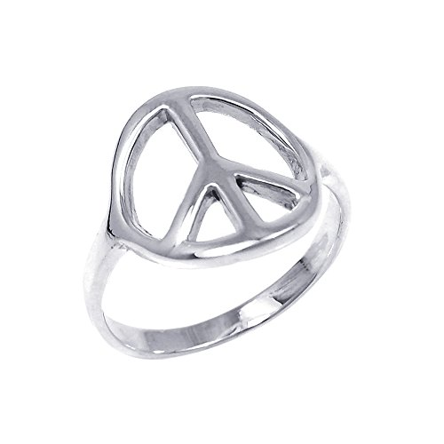 AeraVida Shiny Peace Sign No War .925 Sterling Silver Rings (9)