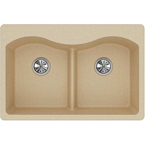 (Elkay Quartz Classic ELGLB3322SD0 Sand Equal Double Bowl Top Mount Sink with Aqua Divide)