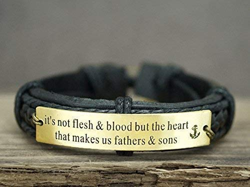 Custom Mens Leather Bracelet for Step dad/mom, Brass Black Leather Cuff, Anchor Charm Engraved, Father Son Gift