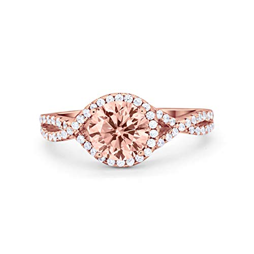 Blue Apple Co. Infinity Shank Twisted Engagement Ring Halo Round Rose Tone, Simulated Morganite Cubic Zirconia 925 Sterling Silver Size-5 ()