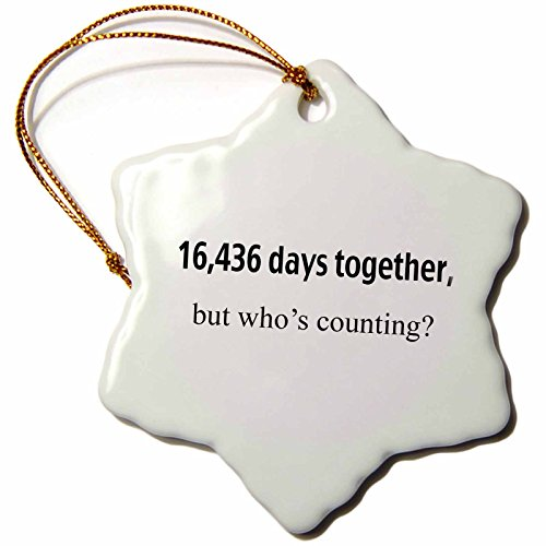 3dRose orn_112216_1 16436 Days Together But Whos Counting Happy 45th Anniversary Snowflake Ornament, 3-Inch, ()