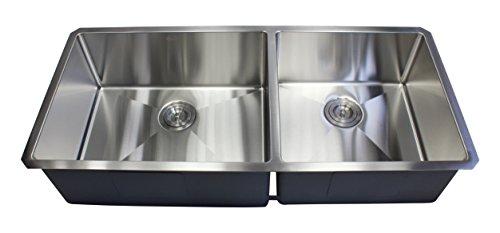 """Ariel 42"""" x 19"""" Double Bowl Undermount Kitchen Sink"""