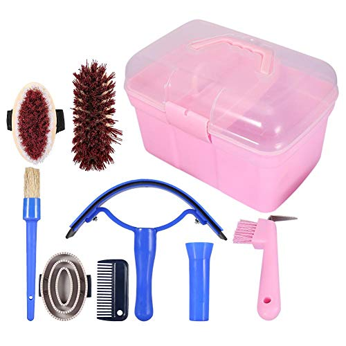 Equine Grooming Series Tools Care (7-Piece Horse Grooming Brushes Set Equestrain Brush Curry Kit Equine Care Series CombHorse Pony Comfort Massage Tool with Storage Box)
