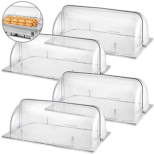 Mophorn 4 Packs Chafing Dish Cover Clear 21'x13'x17' Full Size Roll Top Chafing Dish Clear Plastic Bakery Pan Display Cover