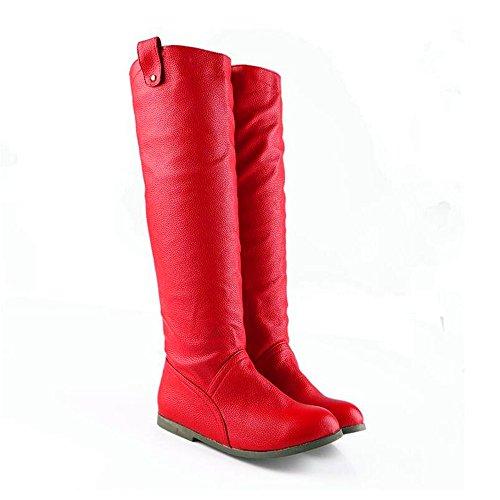 in solido Testa caldo stivali di colore piatto pelle Red Qxw rotonda a fondo Donna zqwfBA0T