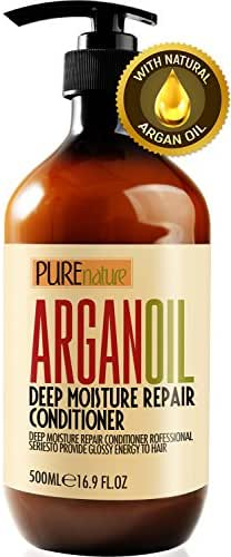 Moroccan Argan Oil Conditioner SLS Sulfate Free Organic - Best Hair Conditioner for Damaged, Dry, Curly or Frizzy Hair - Thickening for Fine/Thin Hair, Safe for Color and Keratin Treated Hair