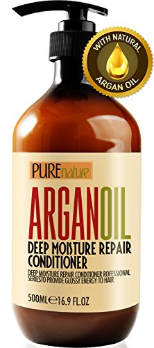 Moroccan Argan Oil Conditioner SLS Sulfate Free Organic - Best Hair Conditioner for Damaged, Dry, Curly or Frizzy Hair - Thickening for Fine/Thin Hair, Safe for Color and Keratin Treated Hair (Best Hair Conditioner For Curly Frizzy Hair)