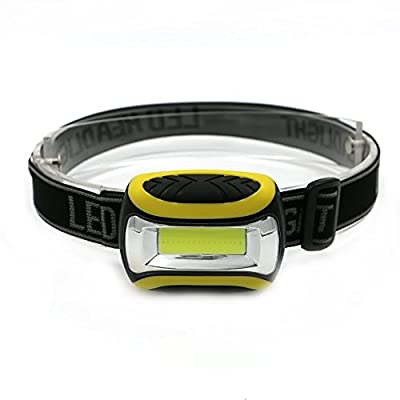 Mini 3 Modes Waterproof COB LED Flashlight outdoors Headlight Headlamp head light lamp Torch Lanterna with Headband AAA Yellow