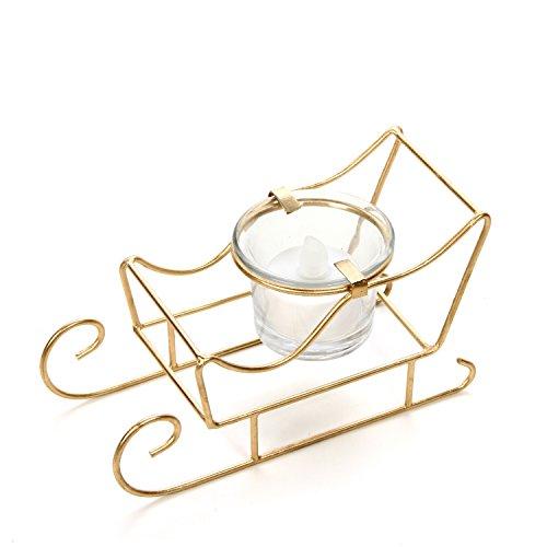 "Hosley's 5.5"" Long Sleigh Tea Light LED Candle holder. Makes a Great Decor for Christmas, Winter, Wedding Gift or Home Decor, Aromatherapy Spa O5"