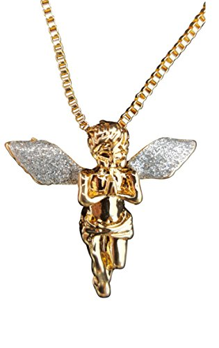 Gold Tone Sparkled Silver Stardust Wings Hip Hop Guardian Angel Necklace (Gold Tone Angel Pendant - Silver Wings) - Gold Chains And Piece Men