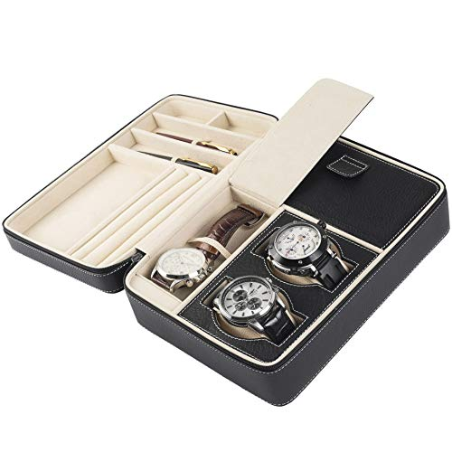 (BILLSTONE Expedition Travel Case For 3 Watches, Jewelry, Cufflinks, Ring, Pen, Accessories, Portable Watch Organizer (Black Napa Leather Finish))