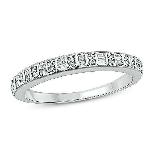Tesero Mio 10K White Gold 1/5Carat Baguette & Round (I-J Color, I2-I3 Clarity) Natural Diamond Fine Ring for Women ()