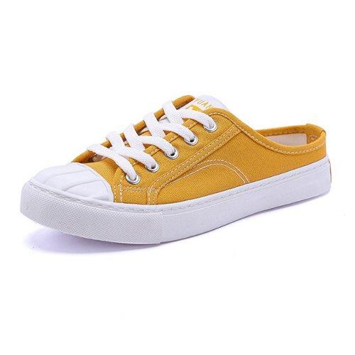 Lace amp;G Calzado Zapatos De NGRDX Lona Mujer yellow Casual Femenino Ligero Calzado Mujeres Up dCHdUqwY