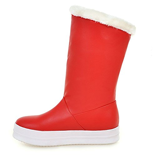 Buckle DecoStain Belt Boots Winter Red Size Leather PU Snow Single Waterproof Women's Wedge Platform IrXXUqp