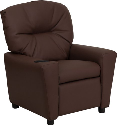 Contemporary Brown Leather Kids Recliner with Cup Holder ()