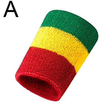 Rainbow Wrist Support Banded Cotton Towel Lane Yarn Sweat Elastic Wristband Men Women Tennis Sport Fitness Bags Protect Headband Estimated Price £8.19 -