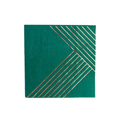 Dark Green w Rose Gold Foil Striped Cocktail Paper Napkins - Birthday, Wedding, Showers Party Napkins - Harlow & Grey Manhattan (60 Count)]()