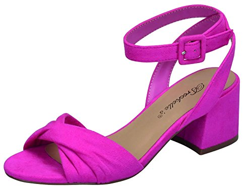 Breckelle's Women's Strappy Twist Front Open Toe Block Heel Sandal (5.5 B(M) US, (Open Twist)