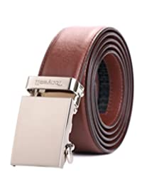 """Tonywell Belt Mens Leather Ratchet Belt Removable Buckle (One Size:32""""-45""""Waist, Brown Leather&Silver Metal Buckle)"""