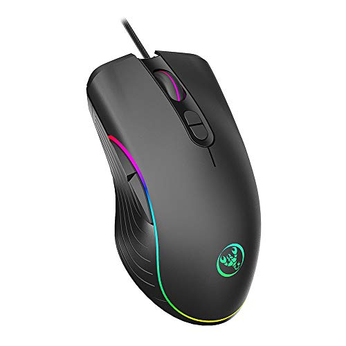 (MIJNUX A867 RGB Light Gaming Mouse Esports Wired Mouse Four Files Adjustable Up to 6400Dpi)