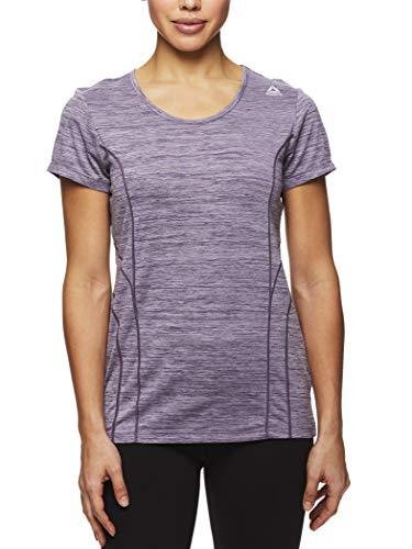 Reebok Women's Dynamic Fitted Performance Short Sleeve T-Shirt - Navy Cosmos Heather, Small (Reebok Women Compression Shirt)
