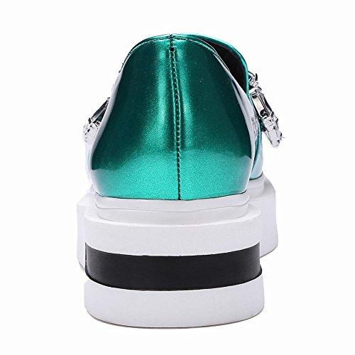 Latasa Mujer Slip On Flat Mocasines Zapatos Cyan
