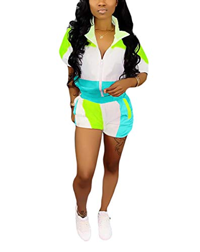 Womens Two Piece Jumpsuits - Half Sleeve Zip Stripe Crop Tops + Bodycon Short Pants Party Outfits Blue#4 S