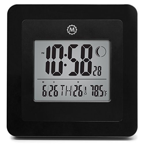 MARATHON CL030049BK Digital Wall Clock with Day, Date, Week Number, Temperature, Alarm & Moon Phase. Black - Batteries Included