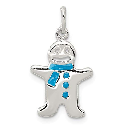 925 Sterling Silver Enamel Gingerbread Man Pendant Charm Necklace Holiday Winter Fine Jewelry Gift For Dad Mens For Him