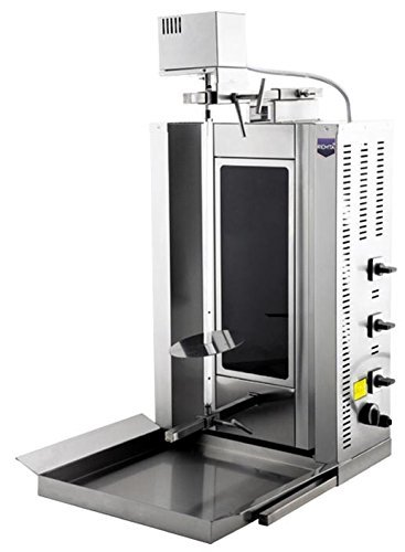 Full Electric, 20 kg/44 lbs Meat Capacity Electric Thermal Glass Burners Rotating Spinning Grills Vertical Broiler Gyro Doner Kebab Rotisserie Shawarma Tacos Al Pastor Trompo Grill Machine 220V