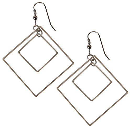 (New! 2 Interlocking Square Earrings for Women | SPUNKYsoul Collection (Gun Metal))