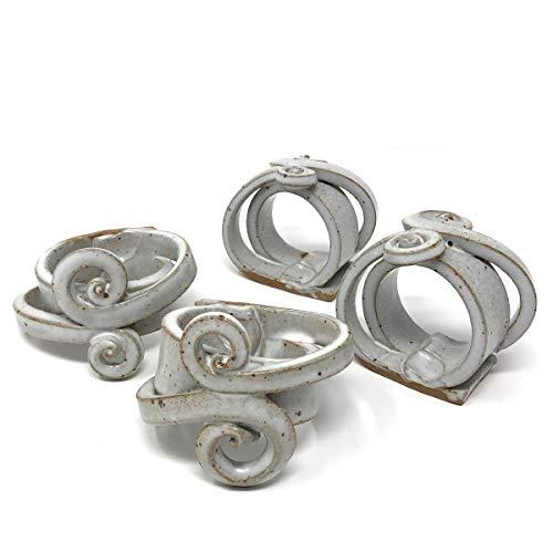 - Anthony Stoneware Napkin Rings, Set of 4, White
