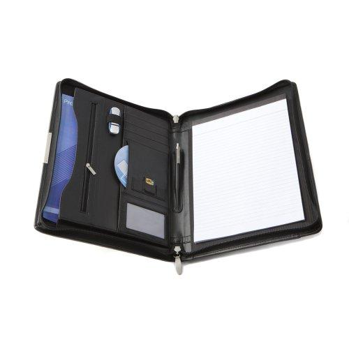 Cescahide A4 Premium Leather Zipped Conference Folder - Black (Zipped Folder Conference)