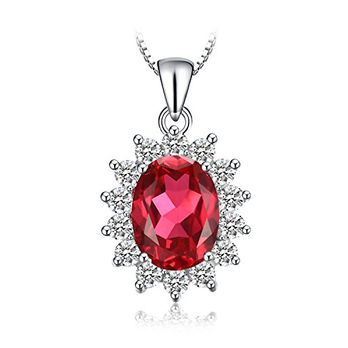 JewelryPalace Oval 3.2ct Princess Diana William Kate Middleton's Created Red Ruby Pendant 925 Sterling Silver Pendant Necklace 18 Inches