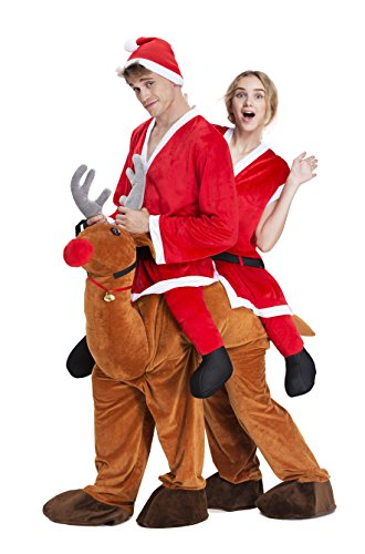 Christmas Costumes - YOU LOOK UGLY TODAY Christmas Party Costumes, Reindeer Ride Me Adult Carry On Piggy Back Fancy Dress by Couple